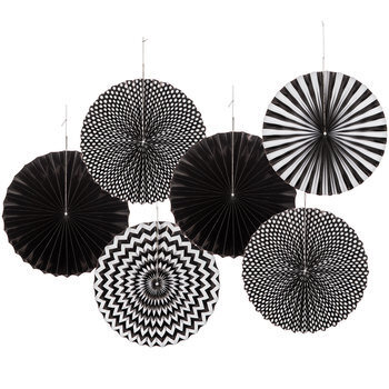 Black Printed Multi-Design Paper Fans