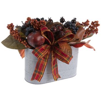 Fruit & Leaves Arrangement In Planter