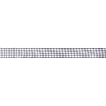 "Dark Gray & White Buffalo Check Wired Edge Ribbon - 1 1/2"""