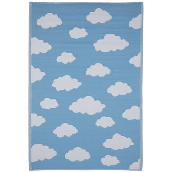 Blue & White Clouds Synthetic Rug