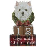 White Terrier Christmas Countdown Decor