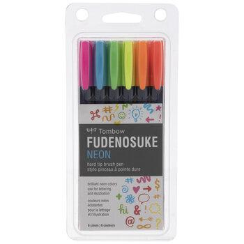 Neon Hard Tip Brush Pens - 6 Piece Set