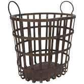 Rustic Oval Wood Basket