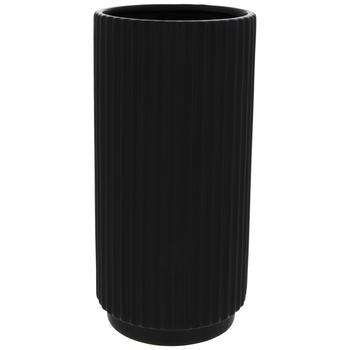 Matte Black Ribbed Vase
