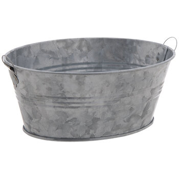 Oval Galvanized Metal Container - Large