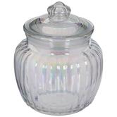 Iridescent Ridged Glass Jar