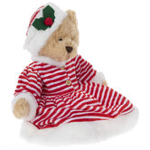 Plush Bear With Striped Dress & Holly