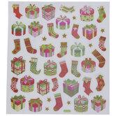 Presents & Stockings Glitter Stickers