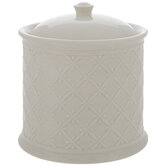 Antique White Embossed Round Canister