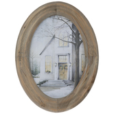 Snowy Church Oval Wood Wall Decor