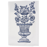 White & Blue Flowers In Vase Kitchen Towel