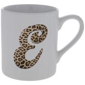 Leopard Print Letter Mug - E