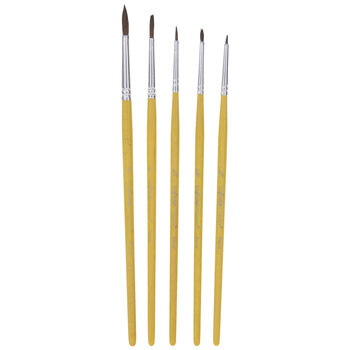 Camel Round Paint Brushes - 5 Piece Set