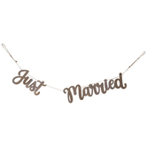 Just Married Wood Banner