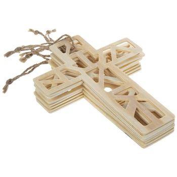 Geometric Cross Wood Ornaments