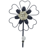 Navy Flower Metal Wall Hook