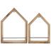 Brown House Wood Wall Shelf Set
