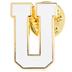 White Letter Metal Pin - U