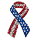 American Flag Ribbon Rhinestone Brooch