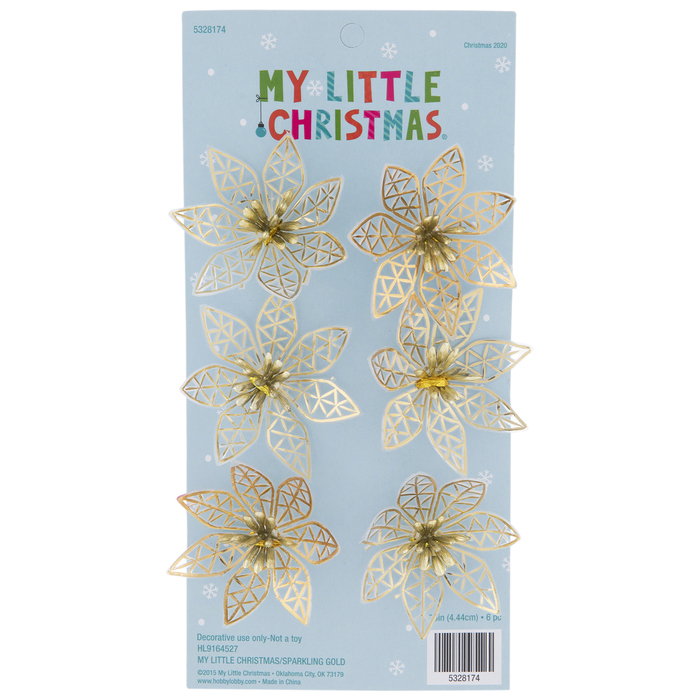 Metallic Gold Poinsettia Ornaments | Hobby Lobby | 5328174