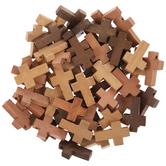 Brown Mix Wood Cross Beads