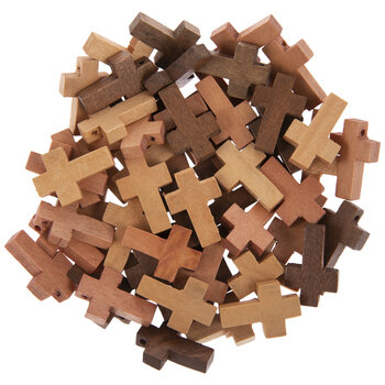 Brown Mix Wood Cross Beads