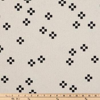 Cream & Black Geometric Duck Cloth Fabric