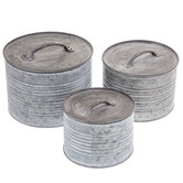 Round Galvanized Metal Box Set with Lids
