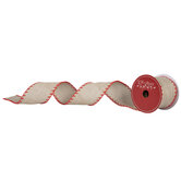 """Stitched Wired Edge Burlap Ribbon - 2 1/2"""""""
