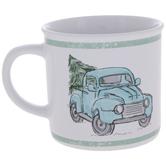 Blue Truck Hauling Tree Mug