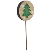 Round Green Glitter Tree Pick