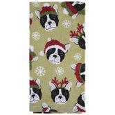 Bulldog & Snowflakes Kitchen Towel
