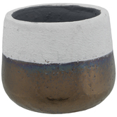Cement Vase With Metallic Bottom