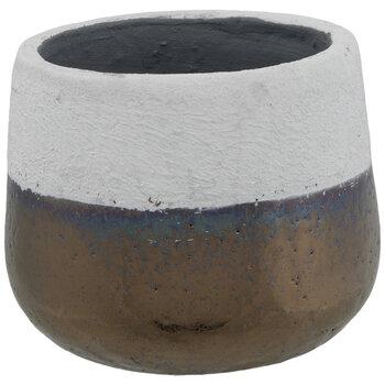 Cement Vase With Metallic Bottom