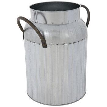 Striped Galvanized Metal Milk Can