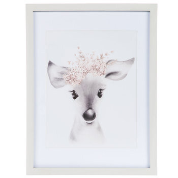 Fawn With Floral Crown Framed Wall Decor