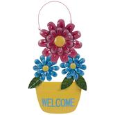 Welcome Flower Pot Metal Wall Decor