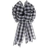Black & White Buffalo Check Bow