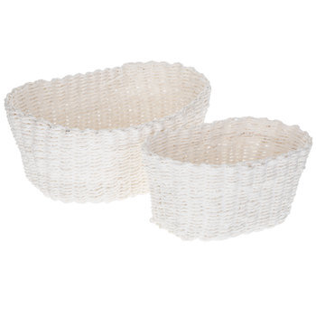 White Oval Paper Basket Set