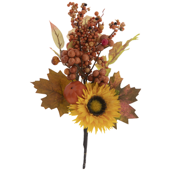 Yellow Sunflower & Brown Berries Pick