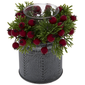Metal Candle Holder With Berries