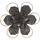 Blue & Gold Flower Metal Wall Decor