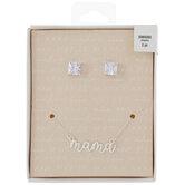 Mama Necklace & Rhinestone Earrings