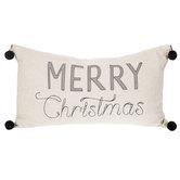 Merry Christmas Pillow With Pom Poms