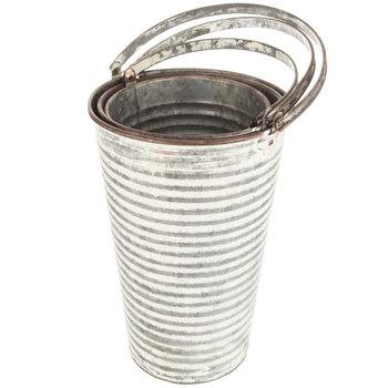 Distressed Ridged Galvanized Metal Bucket Set