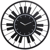 Piano Keys Metal Wall Clock