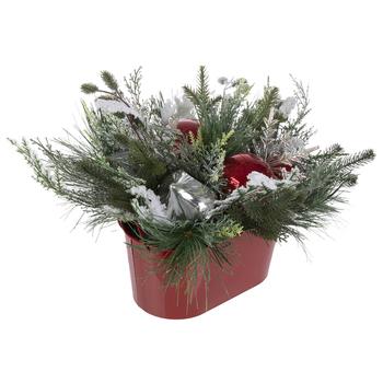 Flocked Pine, Snowflakes & Ornament Arrangement