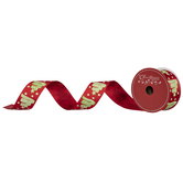 Merry Christmas Candy Trees Wired Edge Satin Ribbon - 1 1/2""