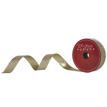 "Gold Glitter Wired Edge Ribbon - 7/8"""
