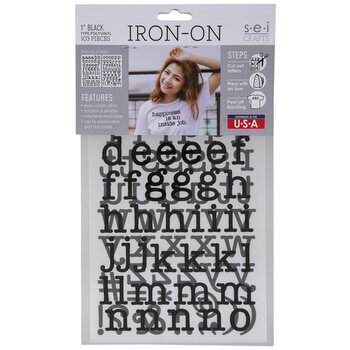 Black Vinyl Letter Iron-On Applique Lowercase Alphabet